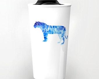Tiger Mug, ceramic travel mug,  coworker gift, gift for teacher, tiger gift, coffee mug, gift for mens, watercolor, under 50,, gift idea