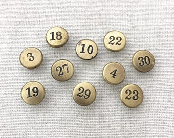 Vintage Push Pins - Set of 10 Tacks - Antique Bulletin Board Thumbtacks - Rustic Metal Office Supplies - Number Tack - Brass Numbers - T3