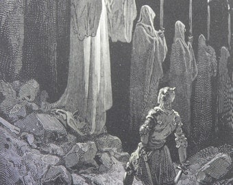 Legend of Croquemitaine by Gustave Dore Antique Print C. 1870 Corpse Candles 129