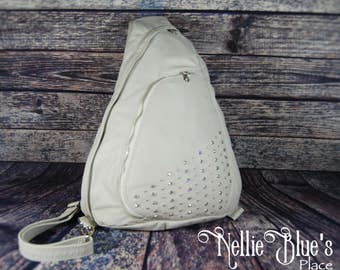 Leather Backpack in Bone with Metal Studs and Rhinestones OOAK (Ready to Ship)