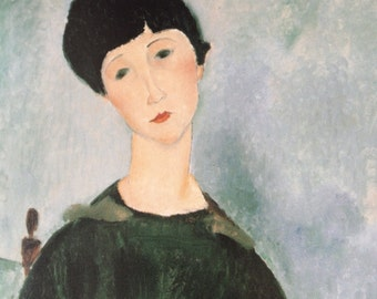 Modigliani-Amedeo Modigliani-Art-Portrait-Italy-Vintage-Postcard-Woman-Young Girl-Home decor