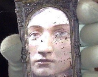 Antique miniature doll mirror in the Renaissance style for 1:12 or larger dollhouse BJD dolls