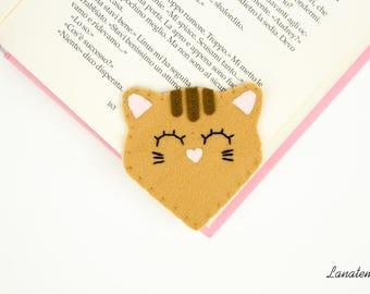 Cat felt corner bookmark, handmade brown cat, cat lovers, animal lovers, original gift idea, reading lovers, crazy cat lady