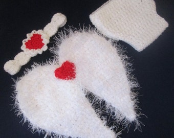 Valentine's Baby Cupid/Angel Handmade Crocheted 3 Piece Baby Set/Outfit/ Newborn Photography Prop