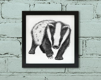 Framed badger print. Badger wall art. Black and white art. Badger ink illustration. Badger wall art. Wildlife art