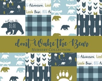 Don't Wake the BEAR! Nursery Collection - Bear Crib bedding, Bear Crib sheet, Bear Minky Blanket, Bear Baby Bedding, Bear Nursery, Woodland