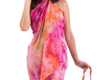 Spirituelle Cotton Beach Sarong with Matching Carry Bag - Balinese Sunset