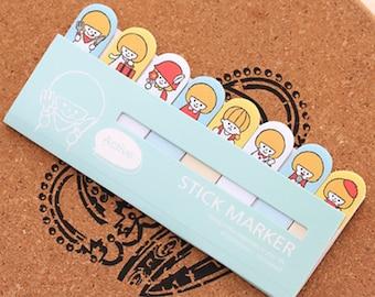 Girl Sticky Note Set - Mint Green (15 Sheets x 8 pcs) Korean Stationery Funny Sticky Notes Post It Note