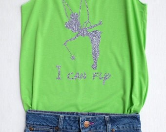 Silver Glitter Tinkerbell I can fly - Disney shirt,Disney tank top,Princess shirt,Princess tank top,Tinkerbell shirt,Tinkerbell tank top