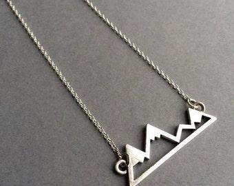 Snowy Mountain Necklace, Mountain Necklace, Silver Mountain Necklace