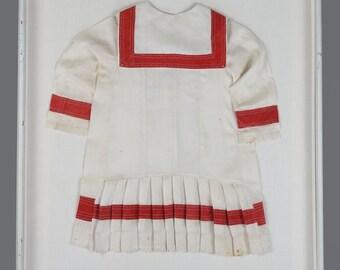 Antique Framed Baby Dress On Canvas 26 x 31 White Frame