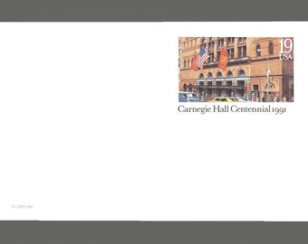 Set of 5 1991 Carnegie Hall Centennial Cards 19 Cent US Postage Stamps