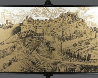 Vintage Eliezer Weishoff Serigraph Screen Print City Of Jerusalem