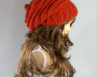 Knit Hat Women Orange Knit Hat Goth Hat Pixie Hat Slouchy Knit Hat Slouch Beanie Hand Knit Hat Knit Beanie Woodland Clothing