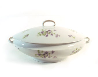 French Soup Tureen with Lid, Limoges SS France, Purple Green and White Vegetable Dish