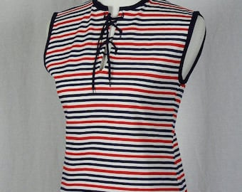 1960s / 1970s Vintage Women's Red, White, and Navy Sleeveless Knit Top - New with Tags