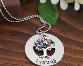 Nanny Necklace | Family Tree Necklace For Nanny | Nanny Birthstone Necklace |  Grandmother Necklaces | Gift For Nanny | Grandmother Gifts