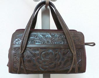 Vintage Gaitan Made in Mexico Hand Tooled Leather Handbag with Beautiful Flowers