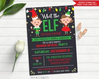 elf gender reveal invitation, christmas gender reveal invitation, what the elf gender reveal invitation, printable, red, green, winter