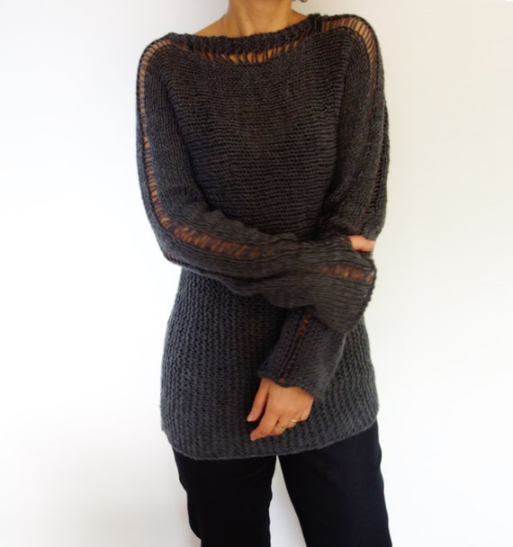 Knitting Pattern Slim Thumb Hole Sweater/ Long Hand Knit