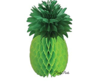 Green pineapple centerpiece, Luau decorations, 11.5in, tissue paper honeycomb, DIY party supplies, tropical decor, retirement, shower, fruit