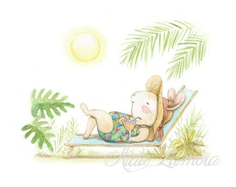 "Archival print ""TROPICAL SUMMER"" Art Print, Bunny Illustration."