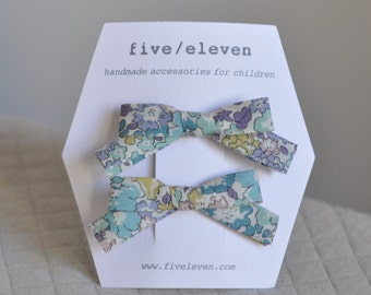 Michelle aqua Liberty hair clips. Hand made bow barrettes for girls