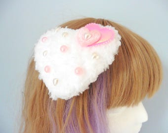 Fairy Kei Fuzzy White Heart Hair Clip