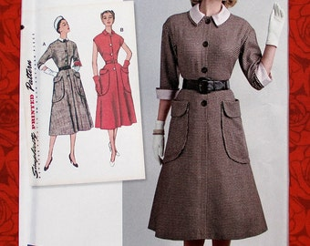 Simplicity Sewing Pattern 8251 1950's Dress, Detachable Collar & Cuffs, Size 16 18 20 22 24, Retro Vintage Style Spring Summer Fashion UNCUT