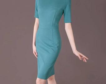Blue Dress, Elegant Sheath Dress, Custom Made Dress, Casual Office Wear, Plus Size Clothing, Mother Dress, Chieflady CB118