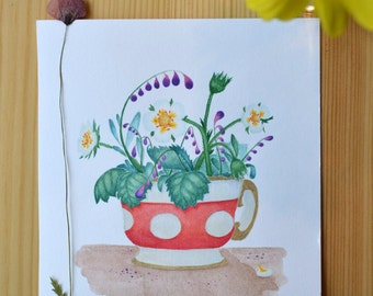 Watercolor illustration, Handmade Greeting card, Original Paper card, Wall art decor, Watercolour painting, Watercolor summer flower bouquet
