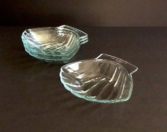 Pyrex Glass Plates, Set of 4, Glass Seashell Plates, #435, Made in France