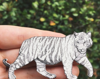 Hand-drawn Tiger Brooch