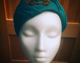 Unique Vintage 1960s Tilted Turban - Teal with Gold Beaded Detail - Retro, Mid Century Accessory