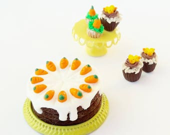 1:12 dollhouse food Easter miniature carrot cake / dollhouse carrot cake scale one inch / miniature carrot cake Easter / Easter miniature