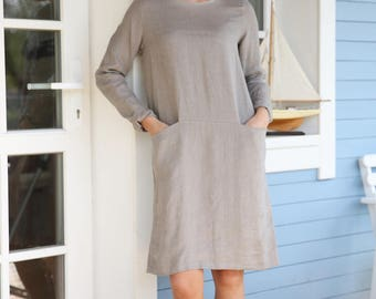 Casual linen dress with two hidden pockets and long sleeves in different colours. Washed linen dress. Women's tunica dress.