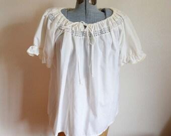 Large / Extra Large - Cute Vintage Peasant Blouse