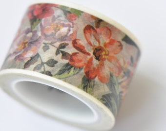Vintage Flowers Washi Tape / Decorative Tape / Japanese Masking Tape 25mm wide x 5m long ( 1 inch wide x 5.5 yards long) No. 12003
