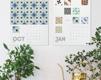 Spanish Tile Wall Calendar, 2018 Calendar, Modernist Tiles, Christmas Gifts, Barcelona Tile, Wall Calendar, Barcelona Design, Wall Decor