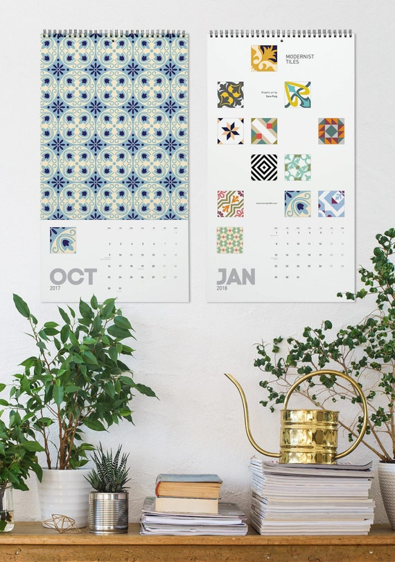 2017 Calendar, Graphic Patterns, Modernist Tiles, Christmas Gifts, Barcelona Tile, Wall Calendar, Design Calendar, Wall Decor, New Year Gift