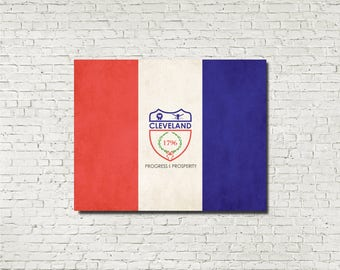 Cleveland City Flag Poster Print Ohio Dorm Bar Office Wall Art Aged