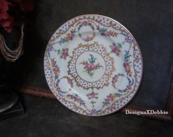 REPRODUCTION LIMOGES PLATE, vintage, shabby chic, cottage chic, floral, collectibles, home decor