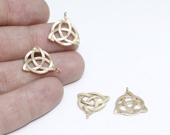 5 Pcs Raw Brass Celtic Knot Charms, Flower of life charms, Triquetra Charms , 17x19mm, SOM129