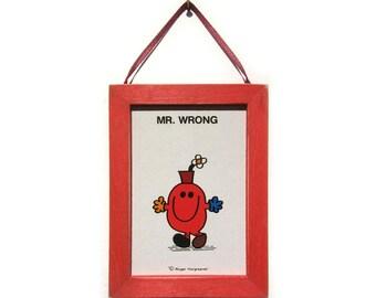 Mr Men Art, Mr Wrong Picture, Mr Men Magnet, Cubicle Decor, Office Gift, Thank You Gift, Small Gift, Gift For Him or Her, Fridge Magnet