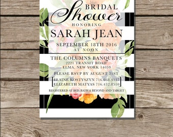 Sarah Jean. Bridal Shower Invitation. Customizable; Digital Download.