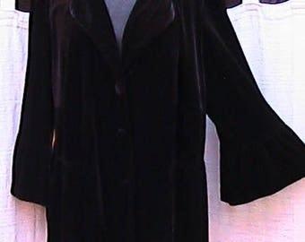"XL  Black Velvet Jacket with flaire sleeve, 3/4 sleeve - 18"""