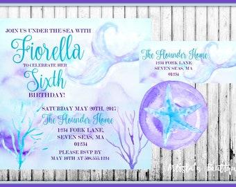 Mermaid Birthday Invitation, Watercolor Mermaid Invitation, Birthday Invitation, Watercolor Invitation, Watercolor Birthday Invitation,