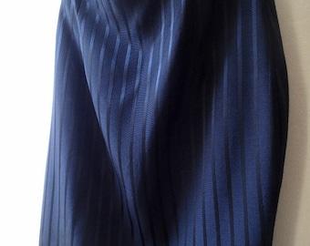 Vintage black pinstriped pencil skirt; xs vintage black skirt; 80s fitted high waisted skirt; black on black pinstripes; retro pinup skirt