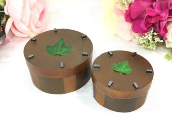 2 Pc. Vintage Striped Wood Trinket Box With Leaves, Wood Accent Box, Home Decor #A377