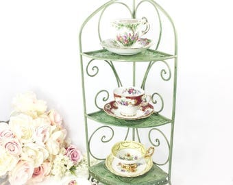 Vintage 3 Tier Green Metal Tea Cup Display Stand, Teacup Holder, Teacup Rack For Tea Parties, Weddings, Showers #A855